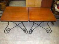 2 Wood top end tables with metal bottoms (sturdy) 2ft.