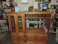 Timber Home entertainment Center with 2 glass doors, 4