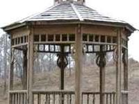 Wooden garden gazebo, 10 ' across and about 11 or 12