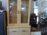 DOUBLE GLASS DOOR WOOD HUTCH WITH 2 DRAWERS LIGHT WOOD