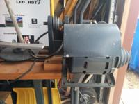wood lathe attached to steel frame table with drawer -