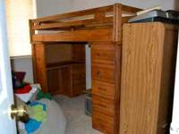 SOLID WOOD LOFT BED WITH FULL RAIL AND LADDER - DESK