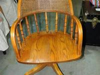 Lumber Office Chair with Wicker Back on Wheels and