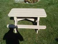 Kids size wooden picnic table for sale. Sturdy, and in