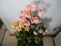 Season arrangement in wood planter holds 3 pots of