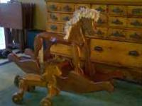 Wooden rocking horse and wheeled horse; use as toys or