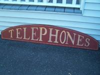 Up for sale is this neat wooden TELEPHONES sign.