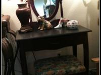 Small wood vanity with bench and mirror. CONSIGNMENT