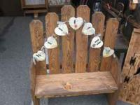 Welcome bench $40, fence and battery lantern $50, signs