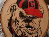 Hand crafted wood burnings. Bulldog $40, Albert $60,