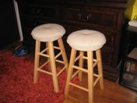 "Nice light color 30"" stools with cushion tops. Also"