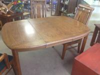 Wood Dinning table with 3 standard chairs and 1