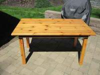 "SOLID PINE WOOD TABLE --- approximayely 30"" x 54"" and"