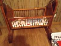 Wooden Baby Cradle, Hand Made, Antique, White Pine,