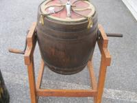 BEAUTIFUL WOODEN BARREL BUTTER CHURN $229.00    ROUTE