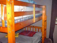 Extra nice wooden bunk beds. Both beds are twin size