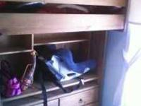 wooden bunk beds for sale with desk on botton dresser