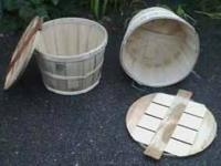 WOODEN BUSHEL BASKETS WITH LIDS * GREAT FOR TRICKY