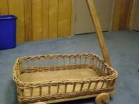 Decorative Arts & Crafts Wooden Cart. Woven sides, peg