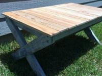 Light gray base coffee table and cedar pickets for the