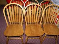 For sale are 6 solid wood kitchen/dining chairs. They