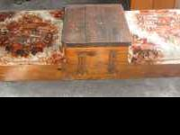 WOODEN. COUCHES AND WOODEN TABLE IN MIDDLE. $25 OBO. .
