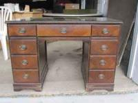 Antique Wooden Desk Has glass on top. $50.00 Cash only