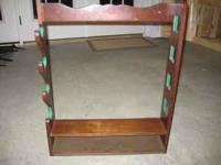 Wooden Gun Rack, holds 4 long guns & has open shelf