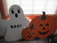 Wooden Ghost and Pumpkin Lawn Ornaments Fall Time