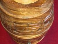 Wooden Hand Carved Wine Keg with 12 Wooden Hand carved