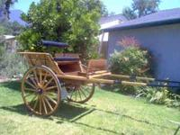 Beautiful wooden back-to-back horse cart and leather