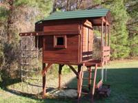 Nice wooden playset for sale. Includes playhouse, porch