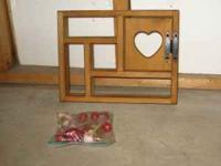 Wooden Shadow Box. Includes decorations to sit on