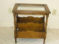 Excellent condition. Wooden side table with glass top &