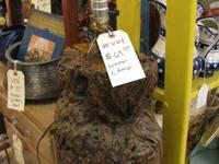 COOL LOOKING STUMP LOG LAMP ON SALE FOR $55.00 IN BOOTH