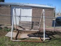Wooden Swing with Steel Frame - Good Condition -