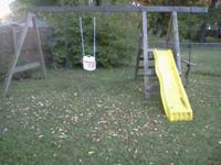 Wooden swing set with slide $150 obo for pickup in