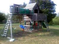 wooden swingset- 8 ft body slide club house with deck
