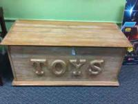 Country style toy box Solid wood black painted