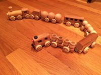 Homemade wooden train for sale. Each train comes with 8
