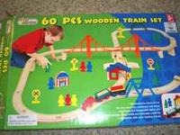 WOODEN TRAIN SET -- FIRST LEARNING - $20 For 3+ - helps