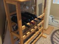 Wooden Wine rack. (Wine, glasses and decorations are