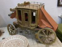 Excellent, detailed wooden model of a stagecoach.