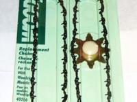 Package of new replacement chains(2) and sprocket for
