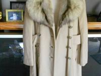 1. Beige wool coat, fox fur collar, 4 button closure, 2