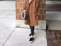 * Wool 50% trench coat * Dark camel color * Free size,