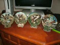 4 ceramic eagle plates with stands price-open for best