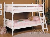 """WOW"" SOLID WHITE BUNK BED FOR GIRL'S - Twin/Twin"
