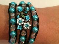 Incredible wrap bracelet in colored beads of turquoise