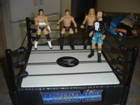Battle Mania Fighting Ring and 4 different Wrestlers